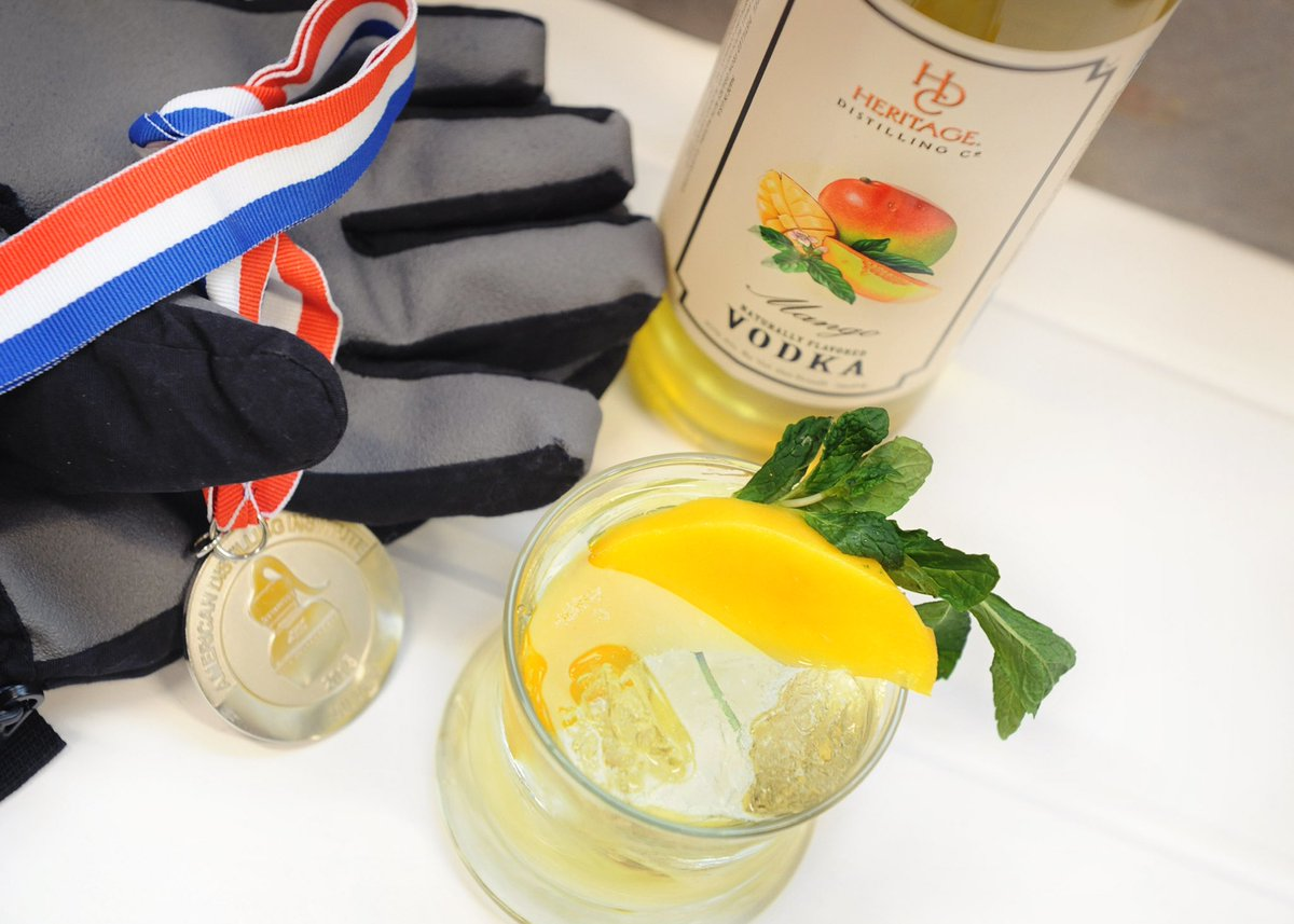 test Twitter Media - The 3rd of our #Olympic themed cocktails - The Gold Medal 🏅 1.5oz HDC Mango Vodka 1oz Sour Mix Top w/Club Soda Garnish with a Mango slice and Mint  #HeritageDistilling #WinterOlympics https://t.co/8uqpIzkOMc
