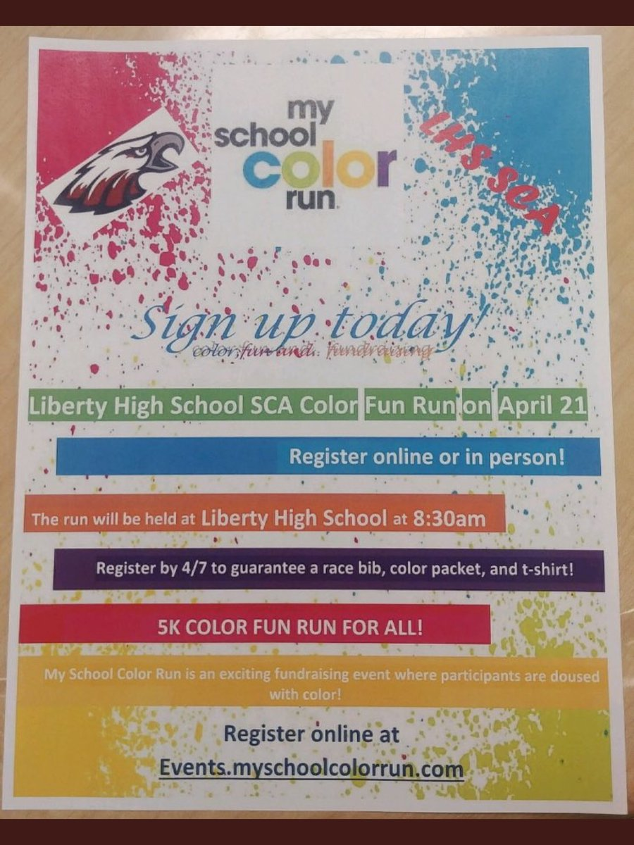 ‼️LHS COLOR RUN APRIL 21‼️Sign up now or...