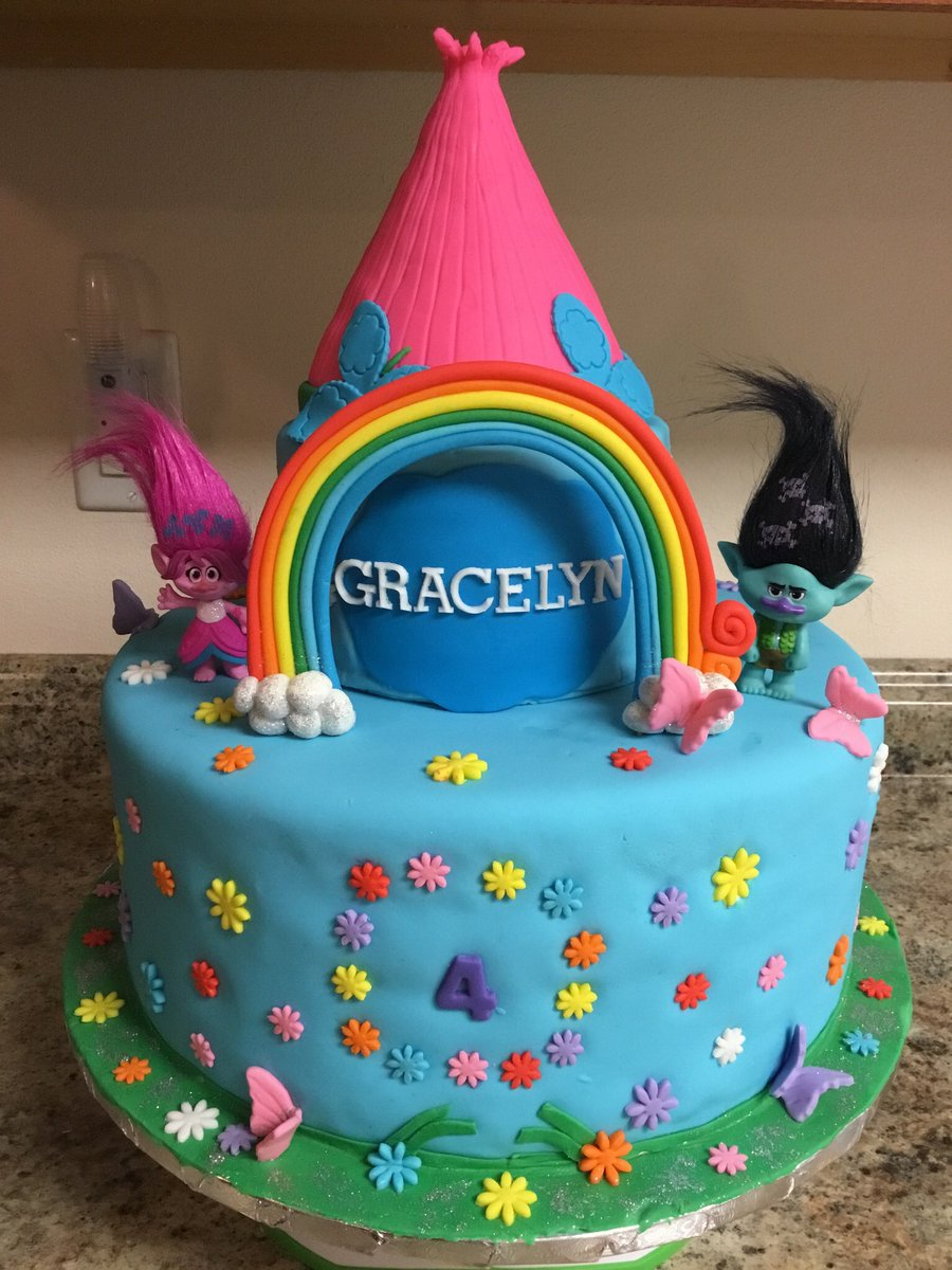 Custom 12 6 Inch Trolls Birthday Cake Poppy Branch Cakes Customcakes Birthdaycake Vanilla Strawberry Delicious Foodporn