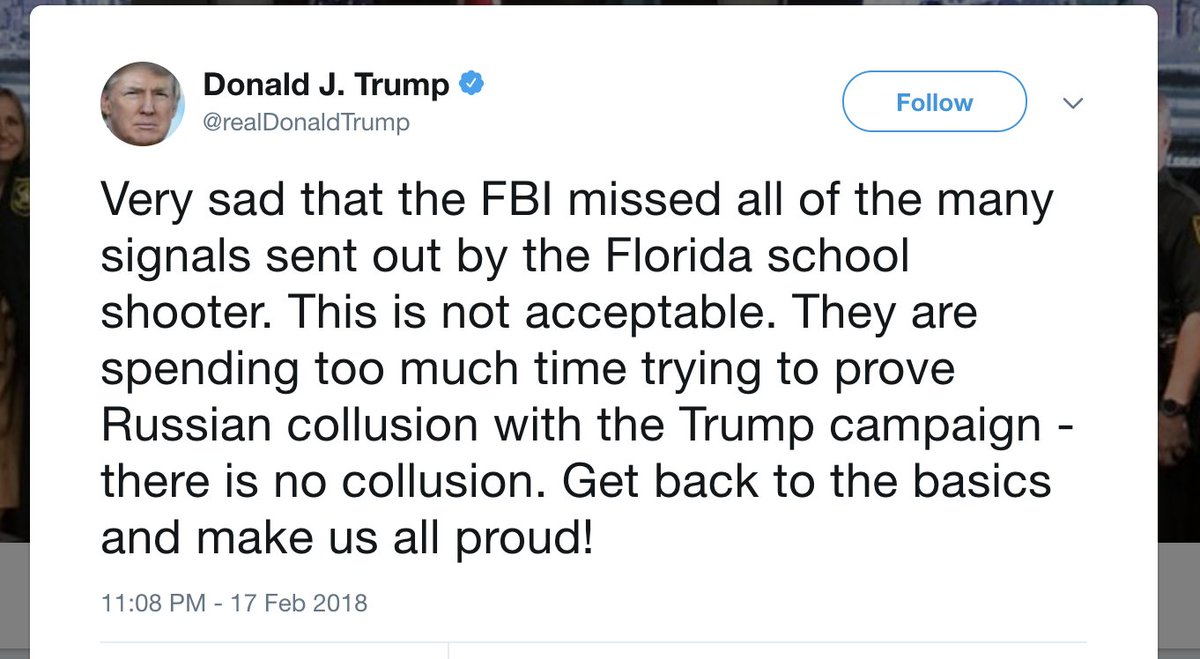 #BREAKING: Trump blames FBI for Florida school shooting https://t.co/XiJ0KSIWvV