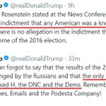Trump v Trump - Less than nine hours apart, Trump claims no American participated with Russia in illegal activity, then claims Hillary & the Dems participated with Russia in illegal activity.  Trump is exhibiting clear symptoms of neurotic psychosis stemming from extreme guilt.