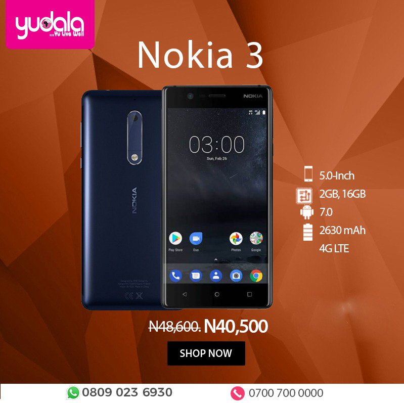 Browse faster, work smarter and live larger. Get the Nokia 3 Android...