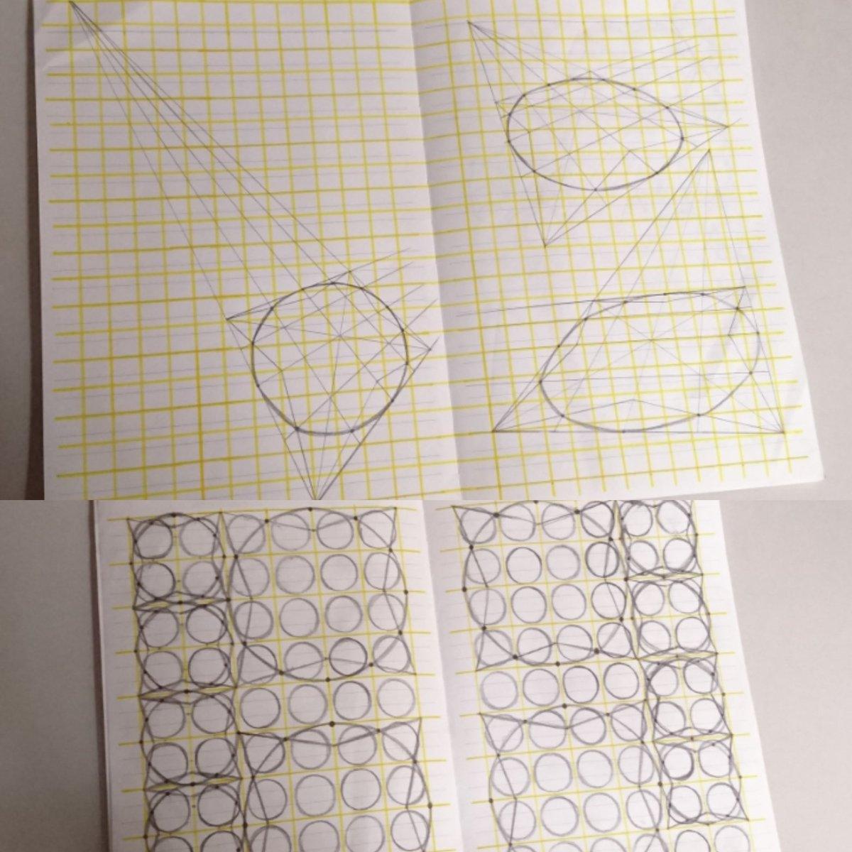 #5分だけ描く 円と線の練習 正方形の枠の中なら歪まず描けるとおもったらそうでもなかった 線をひく前の状態ごまbotみたい