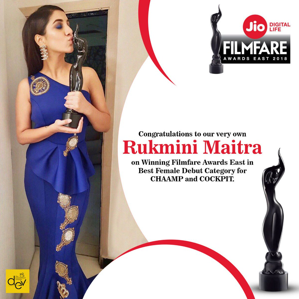 Congratulations to our very own @RukminiMaitra on Winning @filmfare Awards East in Best Female Debut Category for #CHAAMP and #COCKPIT.  #FilmfareAwardsEast2018 #JioFilmfareAwardsEast #FilmFare #FilmfareAwards #JioFilmfareAwards.