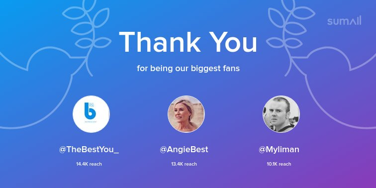 Our biggest fans this week: @TheBestYou_, @AngieBest, @Myliman. Thank you! via https://t.co/knZzMD0Ieg https://t.co/OjFw98wuv4