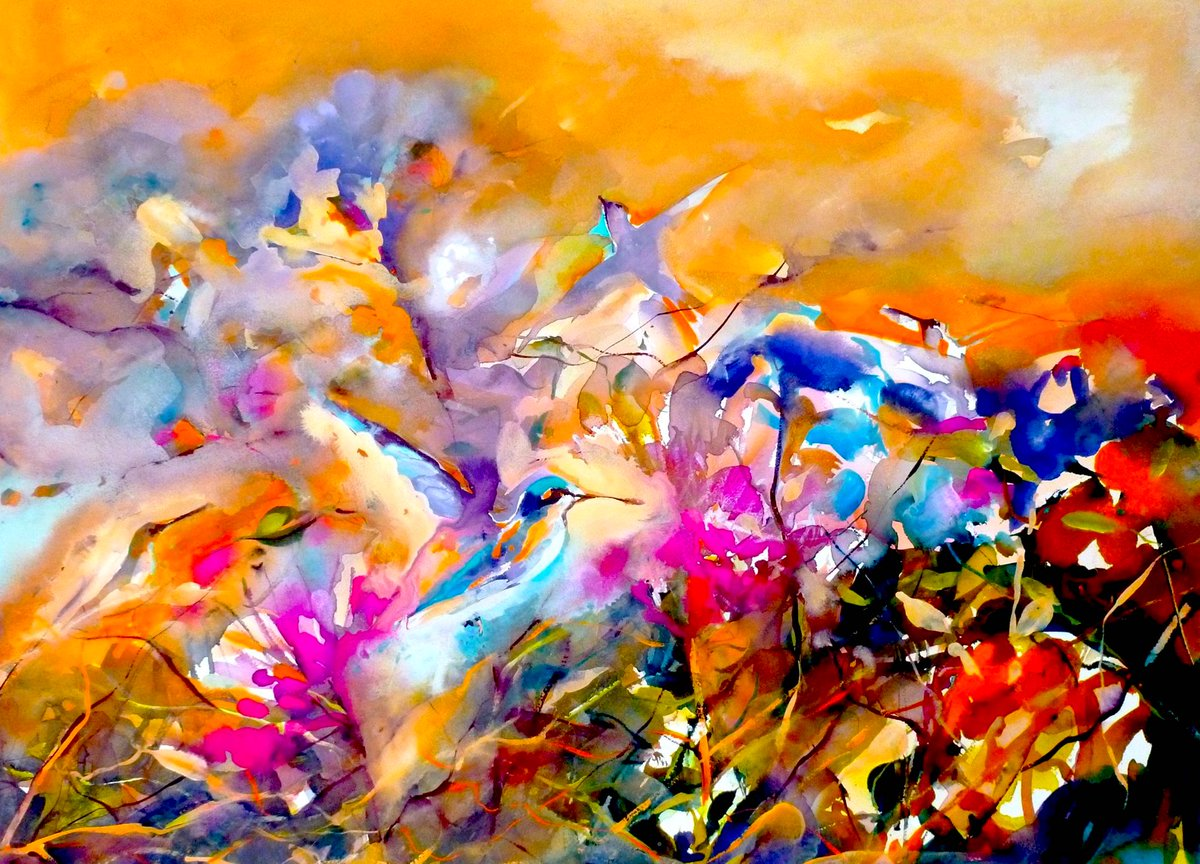 Magical hummingbirds and colour for Sunday - watercolour/gouache - Janet :)