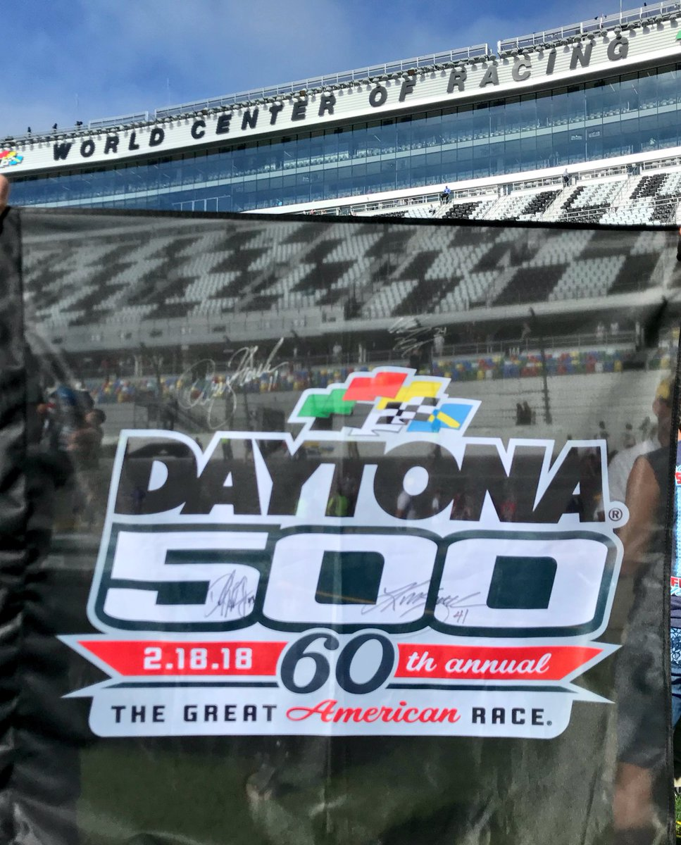 Are you ready for the #DAYTONA500?!   RETWEET for your chance to win this flag signed by @dennyhamlin, @WilliamByron, @KurtBusch and @BubbaWallace!  We'll pick a random winner tomorrow at 11:00 am ET!