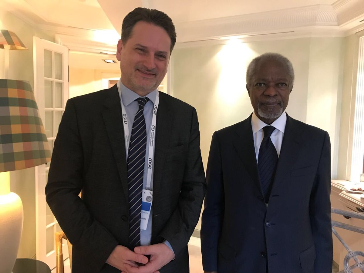 Honored to meet w/ @KofiAnnan in margins of #MSC2018 & discuss increased polarisation in Middle-East & critical importance of preserving hope & rights of Palestine Refugees. Grateful for solidarity & advice at time when @UNRWA faces dramatic funding shortfall.