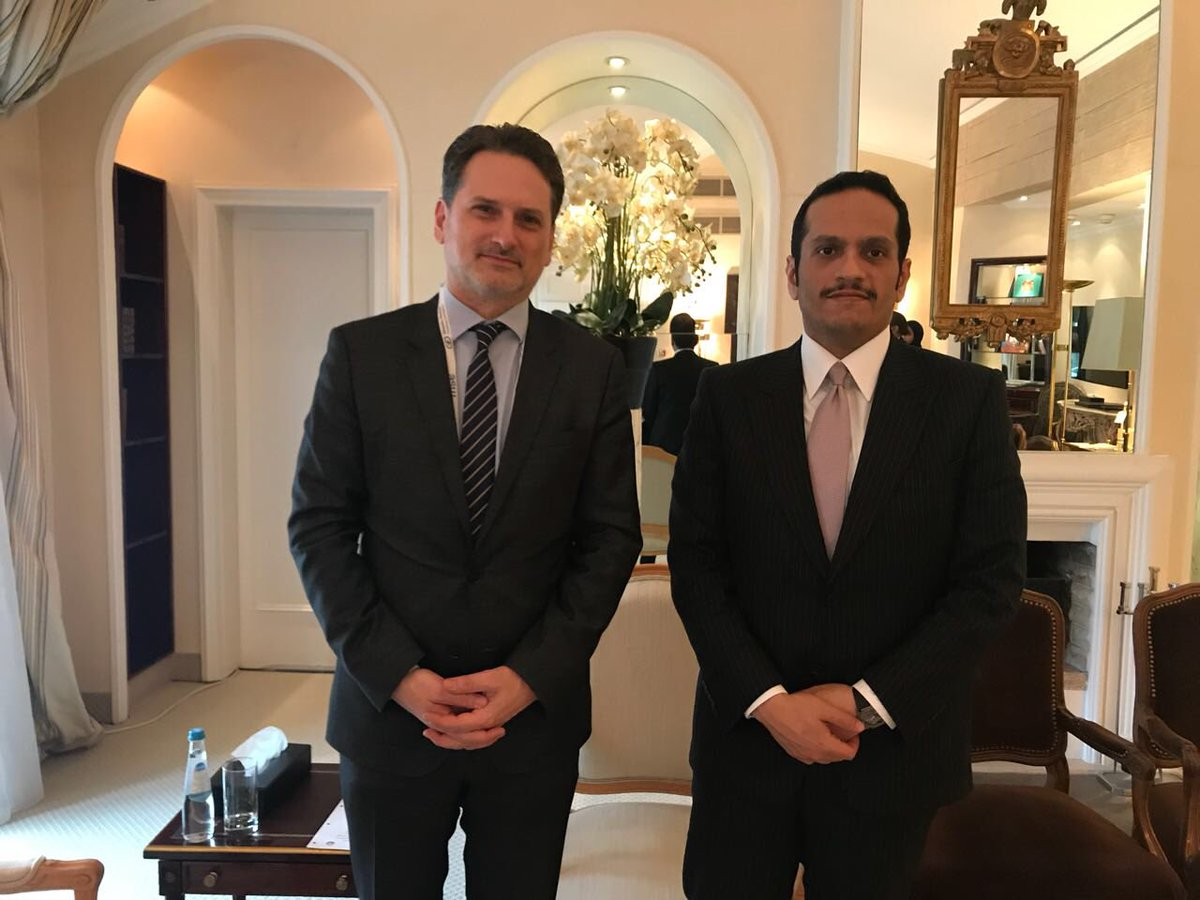 Welcome dialogue w/ H.E. M. Al-Thani, FM of Qatar, during #MSC2018 on importance to strengthen partnership w/ @UNRWA & protect access to education & health-care for Palestine Refugees. Grateful for strong commitment to stand w/ us at time of unprecedented financial pressure.