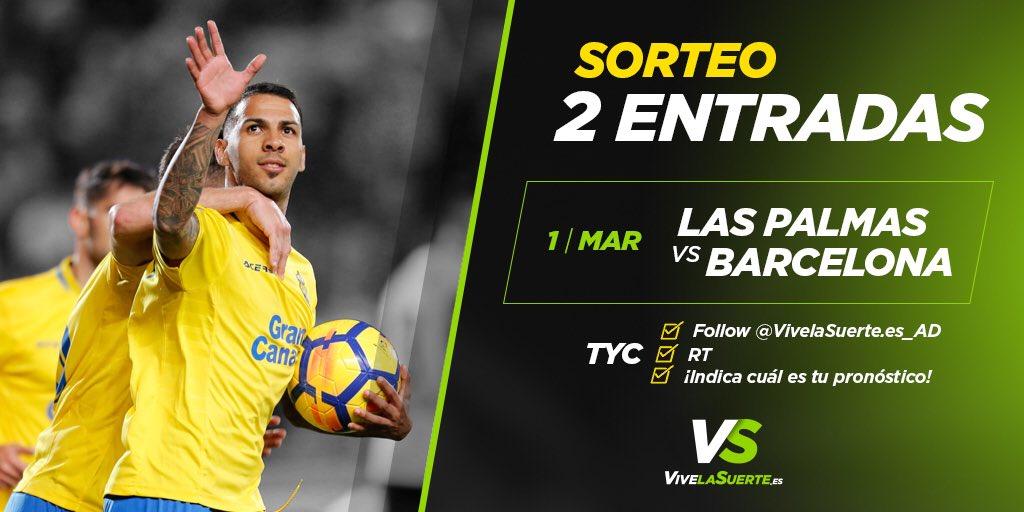 ¡Es hora de un #Suerteo!  ¿Quieres dos entradas para el partido UD Las Palmas vs @FCBarcelona_es? ¡Participa! Toda la info: bit.ly/2CoTKcf