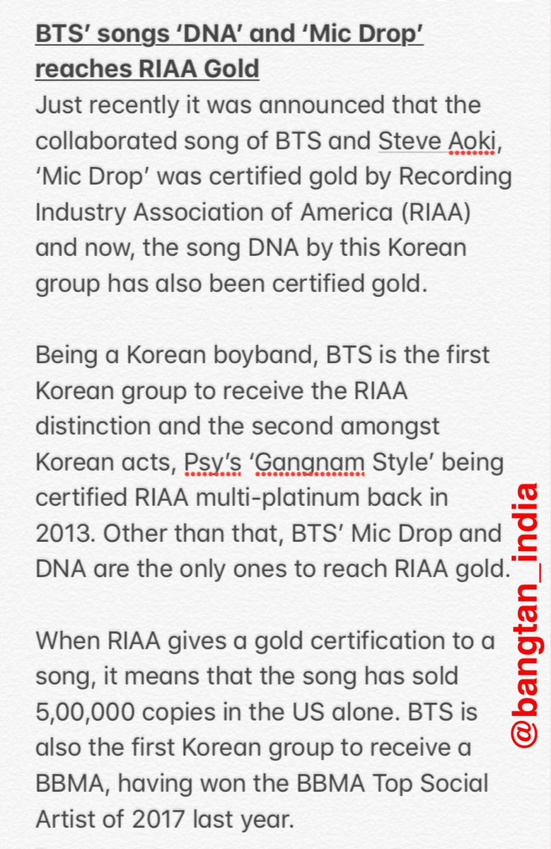 Bangtanindia on twitter news btstwt was news btstwt was mentioned in indian newspaper aizwal post mizoram based in an article about dna mic drop both being certified gold by riaa 1betcityfo Image collections