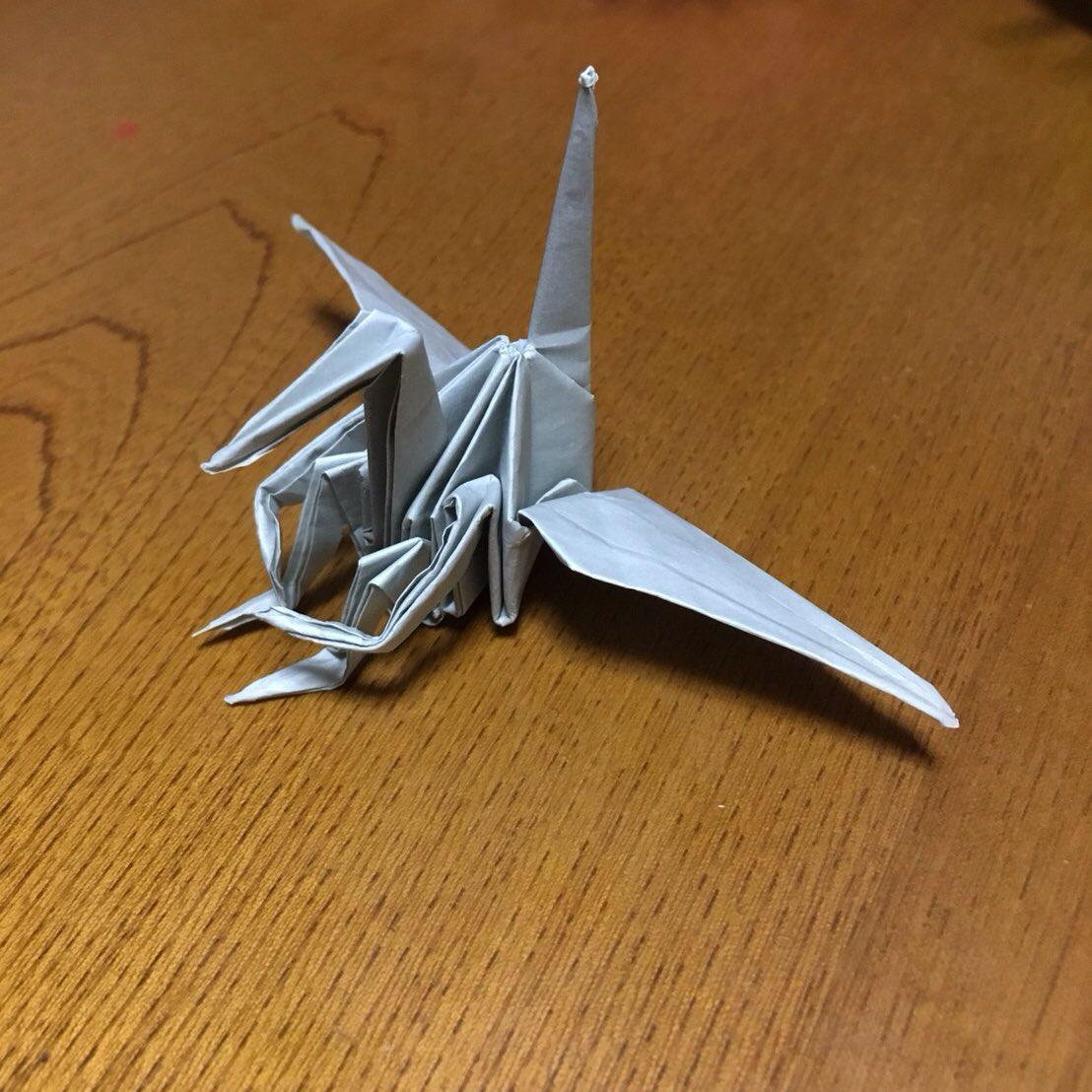 姪の折り紙シリーズ 体育座りの鶴