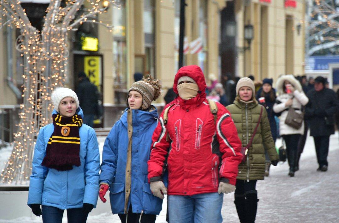 москва зимой фото в чем одеты люди черепахи носили