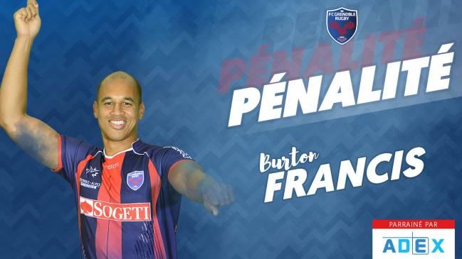 Burton Francis réduit le score. 14-18 #F...