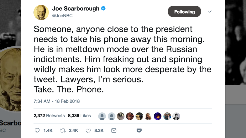 Scarborough urges someone to take Trump's phone away from him: He's in 'meltdown mode' over indictments https://t.co/9VPm1T37yh