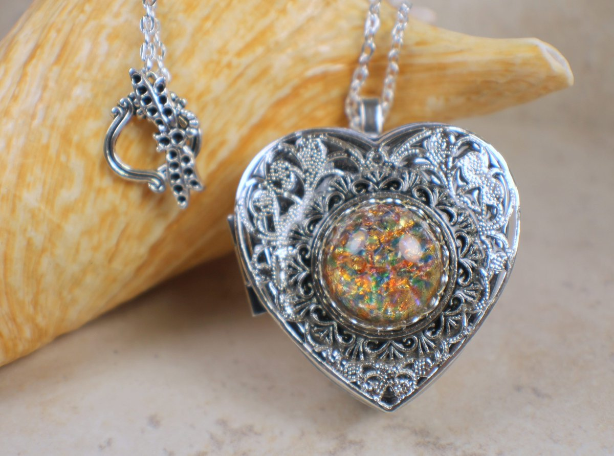 Charsfavoritethings on twitter monet red sunset glass opal silver monet red sunset glass opal silver music locket photo locket music box locket music box pendant heart shaped locket music box necklace aloadofball