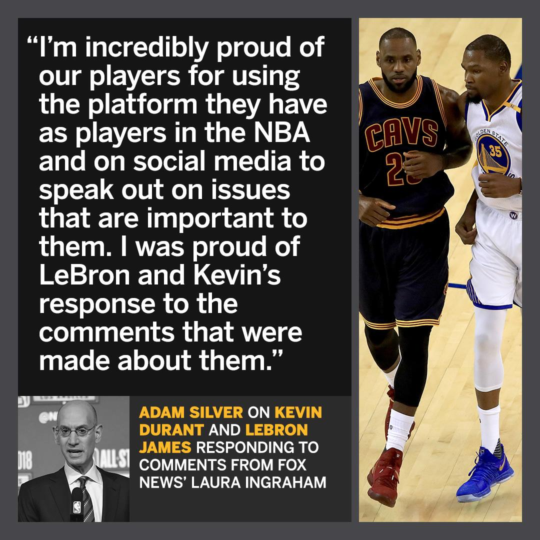 a202fbe1fd3 adam silver said he s proud of lebron james and kevin durant s response to  fox