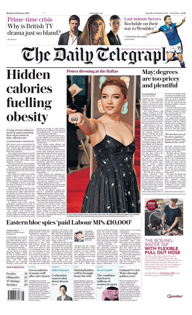 Monday's The Daily Telegraph: 'Hidden ca...