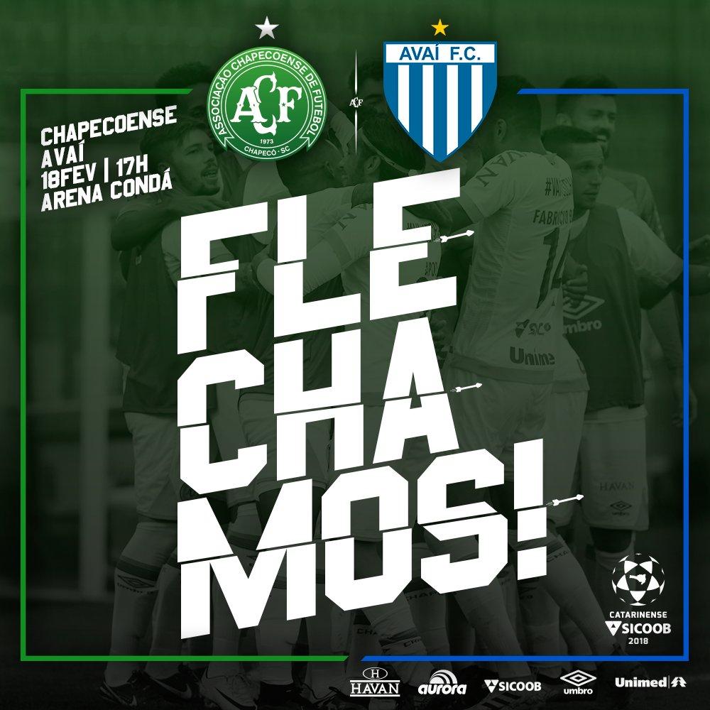 APITOU! VITÓRIA DA CHAPE! FLECHAAAMOS!! ⚽️🏹💚 Fabrício Bruno subiu mais que todo mundo e garantiu a flechada da partida! Chapecoense 1x0 Avaí #VamosChape #Catarinense2018