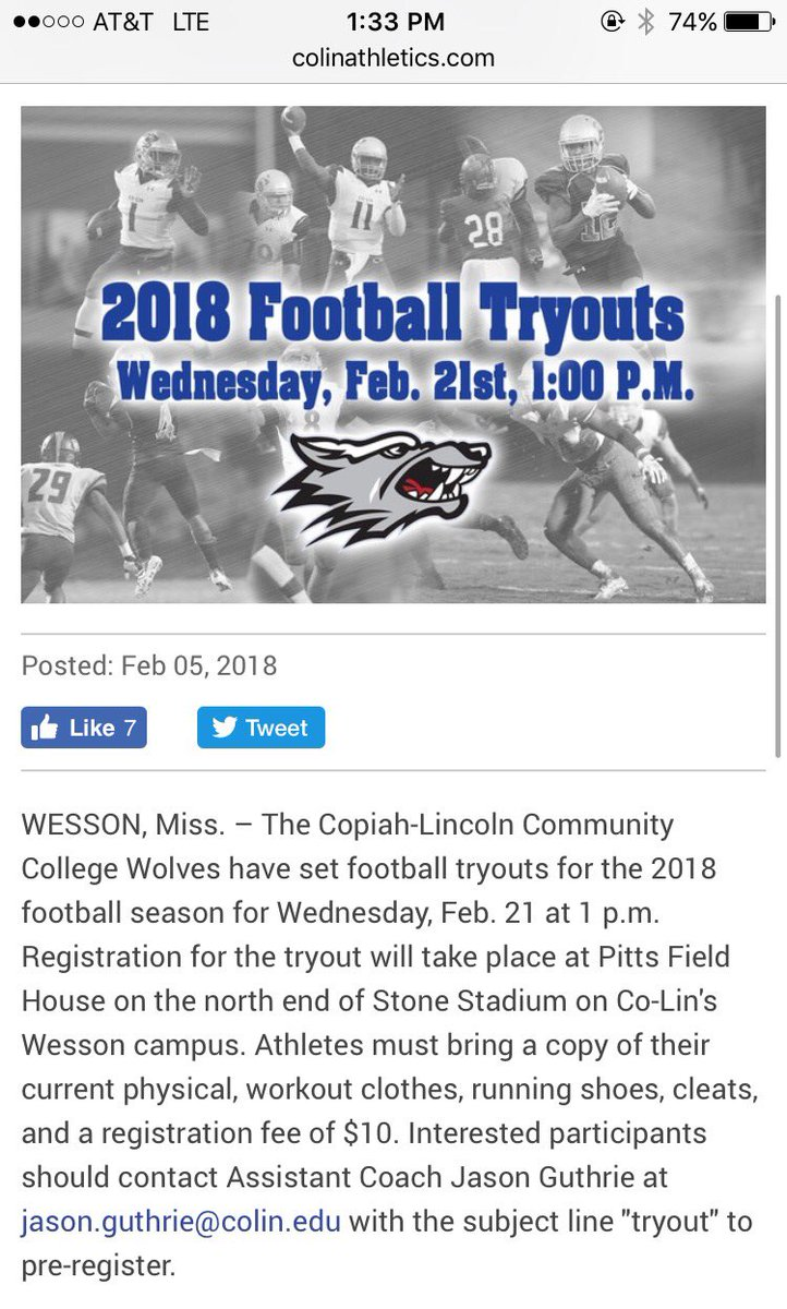 Don't forget to mark your calendars for tryouts this Wednesday at Co-Lin