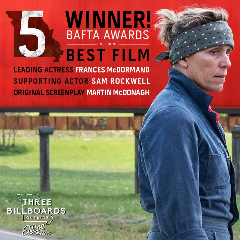 Blueprint pictures blueprintpics twitter huge congratulations to threebillboards on its 5 bafta awards including best film leading actress and supporting actor malvernweather Images