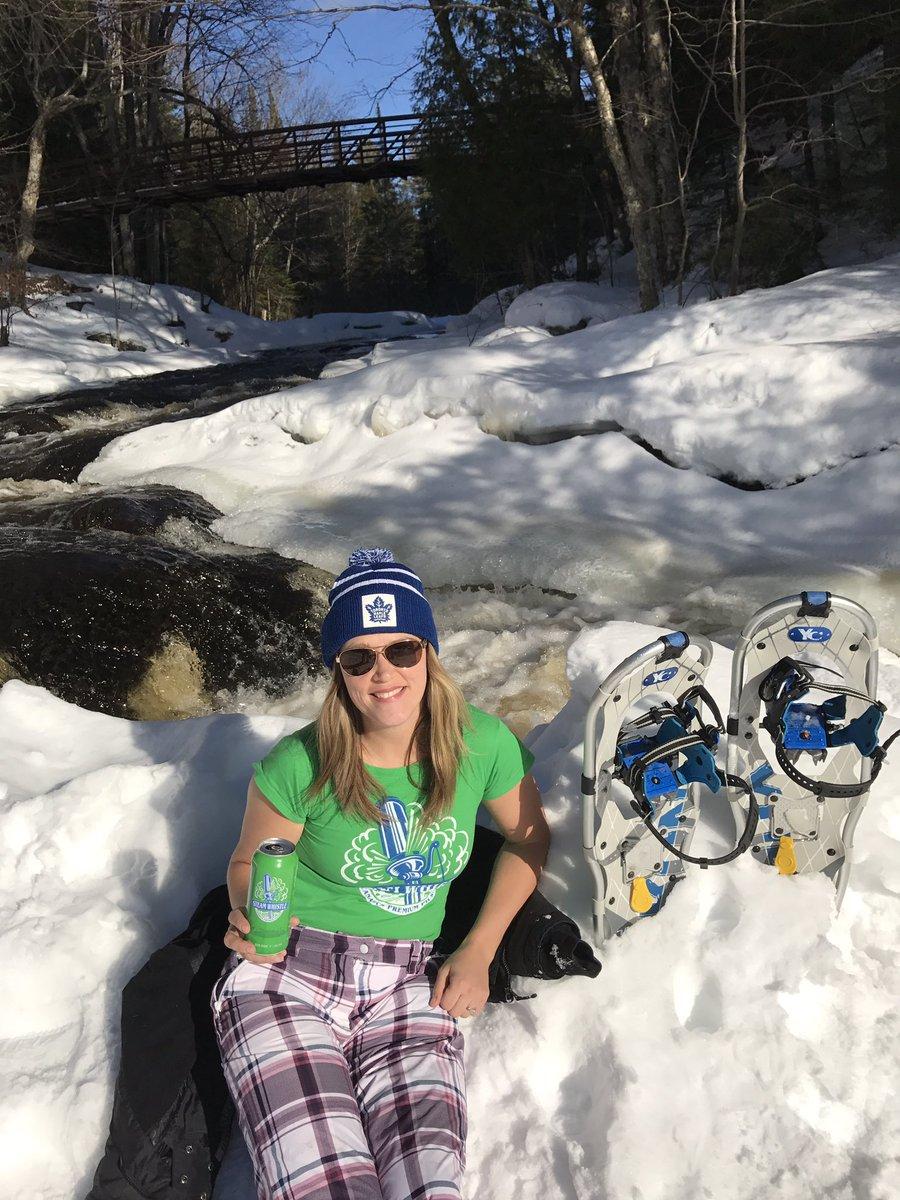 Enjoying an @SteamWhistle while snowshoe...