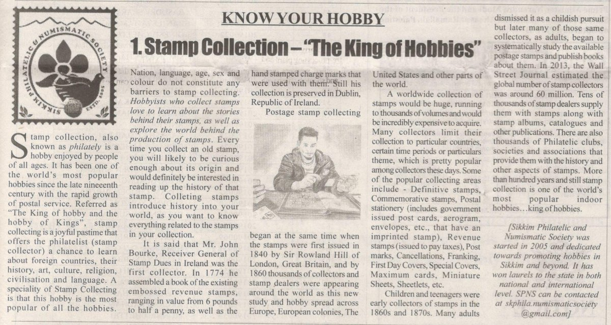 "Article 2 - Stamp Collection ""The King of Hobbies""."