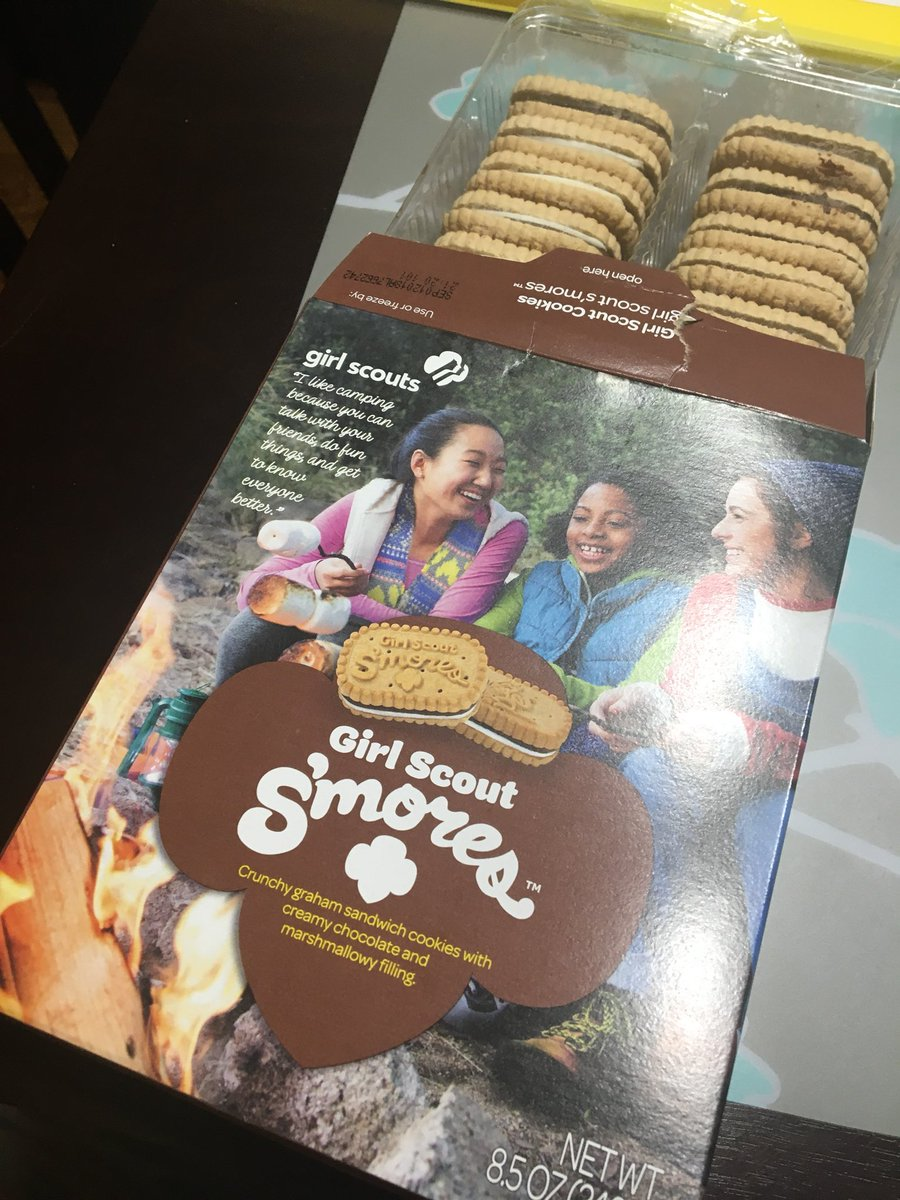 Bout to dive into these new #GirlScoutCookies S'mores. Scout leader lady said to microwave for a few seconds so that's what I'll do