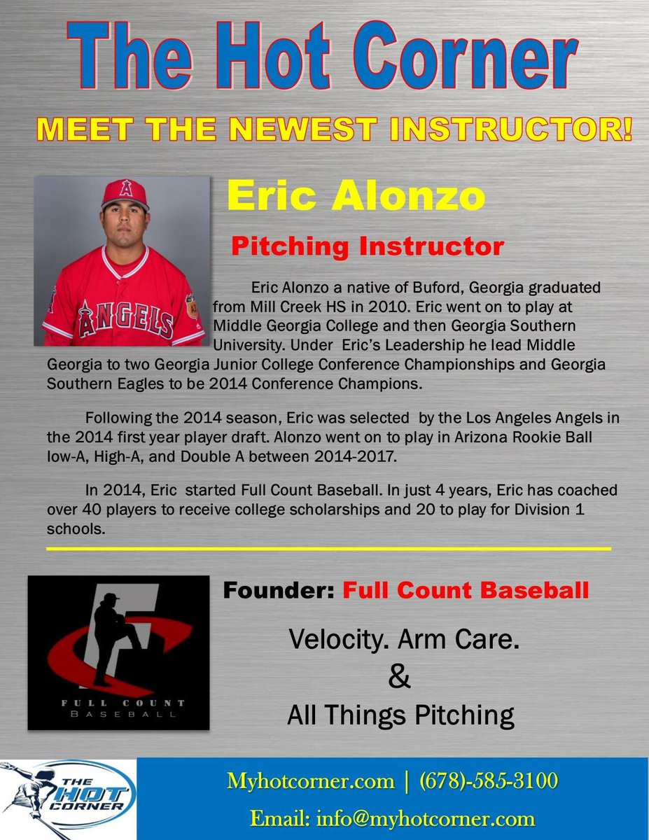 Thehotcornerbaseball On Twitter We Would Like To Welcome Founder Of Full Count Baseball Eric Alonzo To The Staff Eric Is Offering Free Pitching Lessons For Tuesday February 20 And Tuesday February 27 Call