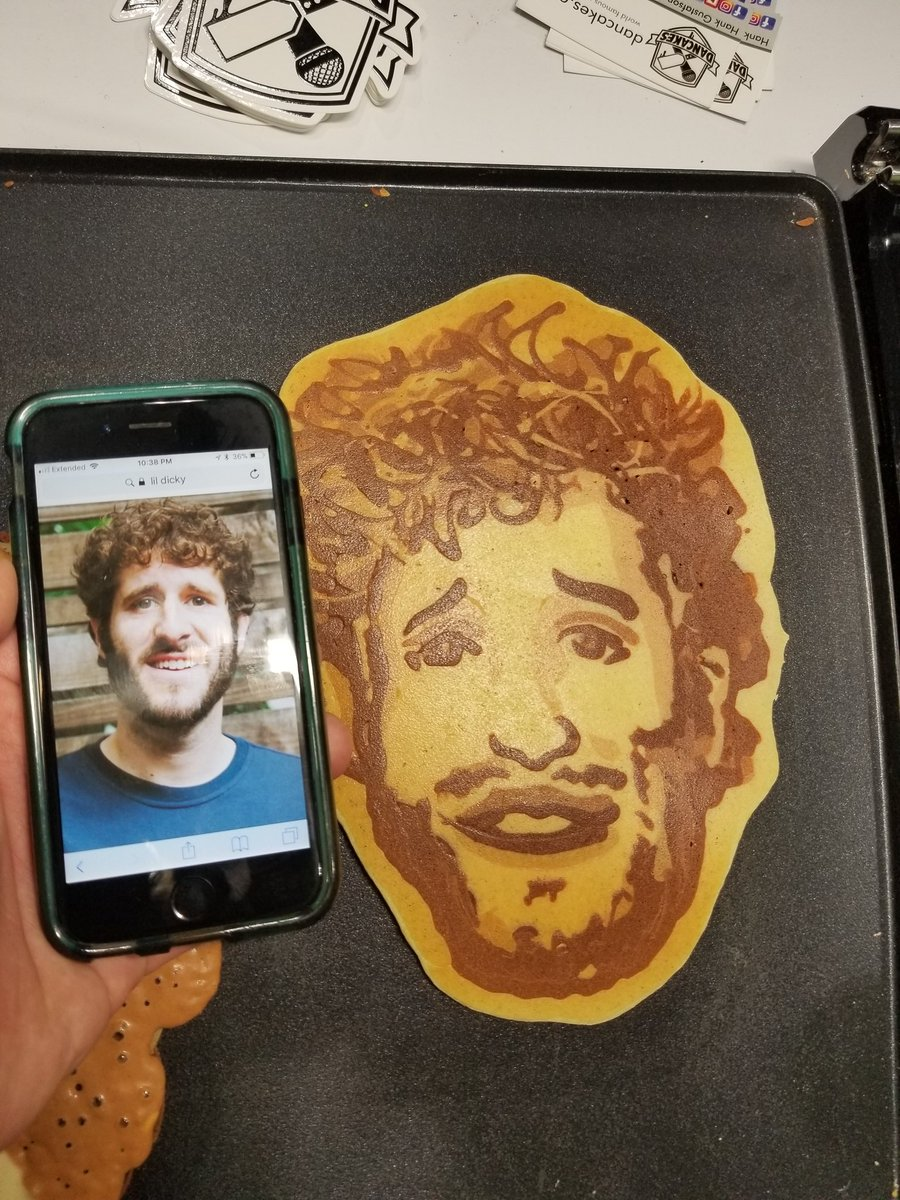 Hey @lildickytweets here is a pancake of your face. We need some new tunes to make sweet syurpy love to it with. #dancakes #pancakeart