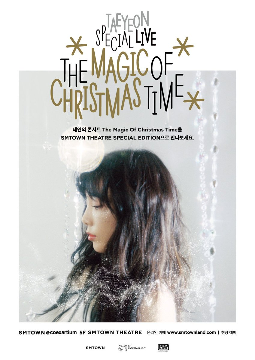#TAEYEON's #TheMagicOfChristmasTime will be opened as three-sided screens version at SMTOWN THEATRE in advance of its DVD release in March!  Screening Period 2018.2.24 ~ 2018.3.18 Tickets 2018.2.20 6PM (KST) via SMTOWN @ coexartium (https://t.co/SSRzg3Ywty) and SMTOWN THEATRE app