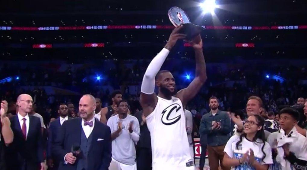 The King claims his 3rd #NBAAllStar MVP 👑  29 PTS 10 REBS 8 ASTS