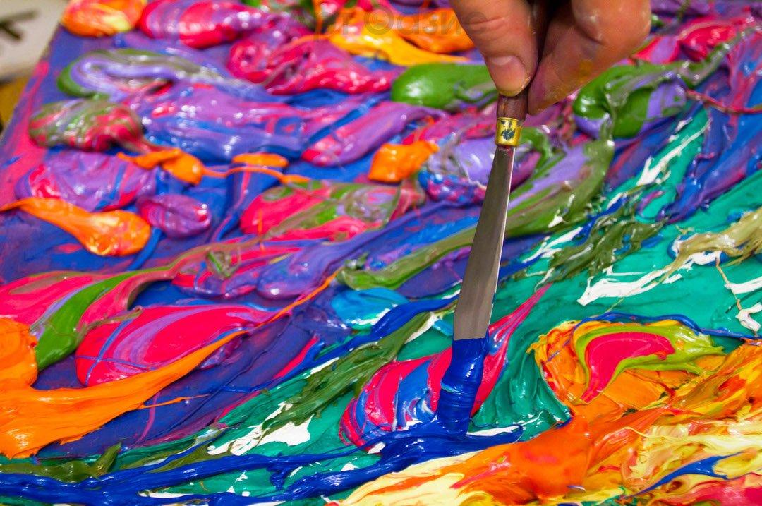 раскрасить фото вручную масляными красками головчатые