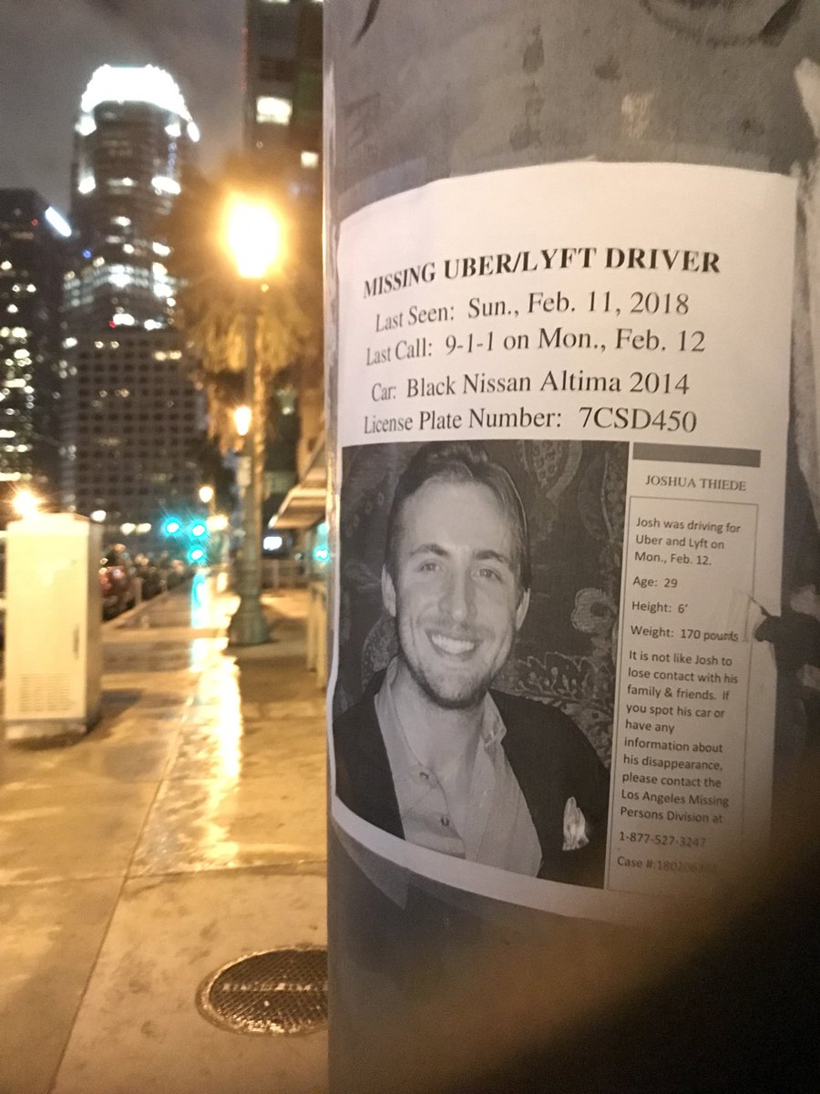Missing #Uber #Lyft driver and the search by friends. After #Olympics on @NBCLA #JoshuaThiede