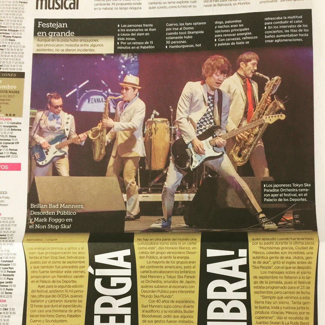 メキシコの新聞に大きく掲載されました✊  #nonstopskafestival #nonstopska #tokyoskaparadiseorchestra #東京スカパラダイスオーケストラ #スカパラ