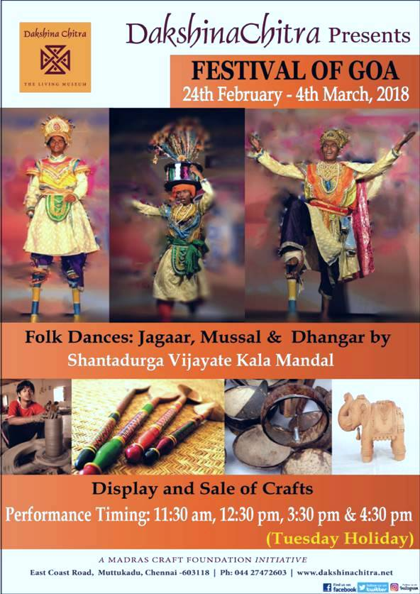 test Twitter Media - Festival of Goa : 24th Feb to 4th March 2018. Experience the culture of Goa with folk dances -Jagaar, Mussal and Dhangar and crafts of goa.   #goa #festival #DakshinaChitra #folkdance #jagaar #mussal #Dhangar #crafts #museum #architecture #culturaltourism #southindia #heritage https://t.co/aSromRHfim