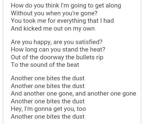 another bites the dust übersetzung