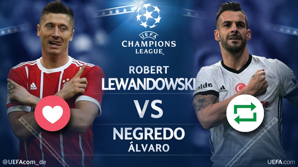 #UCL Countdown 🕘  ❤️ = @lewy_official 🇵🇱 🔁 = @AlvaroNegredo9 🇪🇸  #FCBBJK #BJKFCB @FCBayern #Beşiktaş
