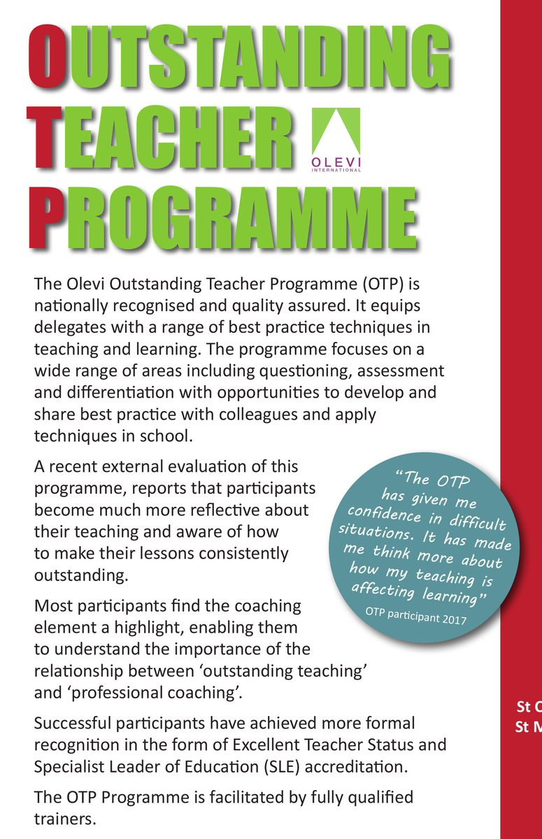 We have a new Outstanding Teaching Programme (OTP) @OLEVItalk starting in the summer term. Suitable for Primary and Secondary teachers. Fantastic testimonials from previous participants. For more details email enquiries@hertsandbuckstsa.co.uk https://t.co/xvN1MfShul