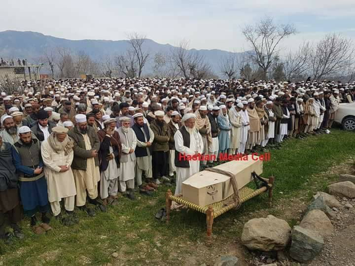 Pictures from #Bajaur Funeral of Ahmad Shah, student of #Karachi University Zoology Deptt whose tortured dead body was dumped in Sohrab Goth on 17 February