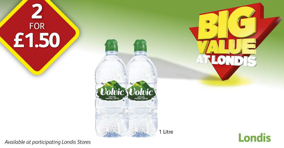 Stay hydrated with @volvic_uk - buy 2 1Litre bottles for £1.50 from your local @myLondis #FindYourVolcano