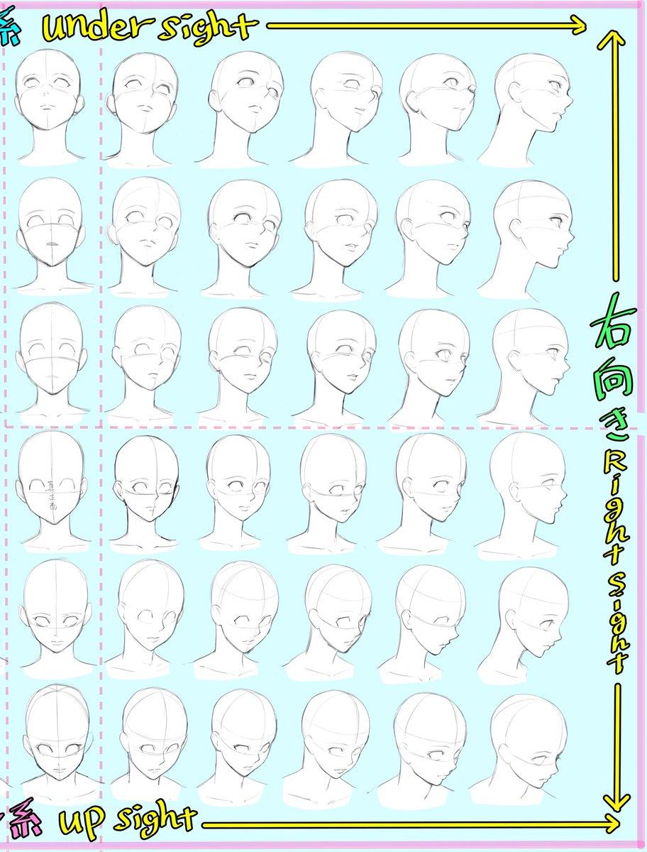 ✨イラスト初心者✨練習向けに!  【顔のアングルの描き方】と  『顔面パース表』です。  両方みて、顔が描きやすくなれば 嬉しいです‼️  【コピー、トレース、保存はご自由に!】