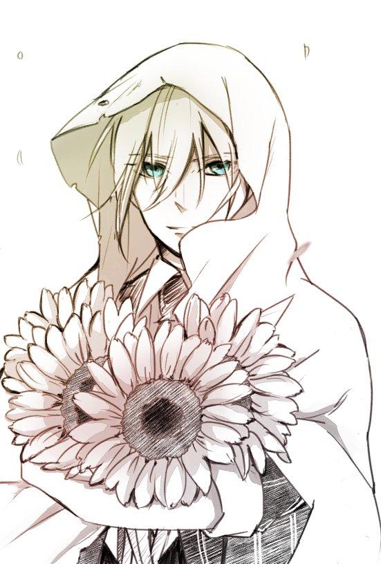 #気が向いたらかくリクエストボックス  ひまわりを持って微笑む山姥切国広。。 ひまわりの花言葉はあなただけを見つめる。。。