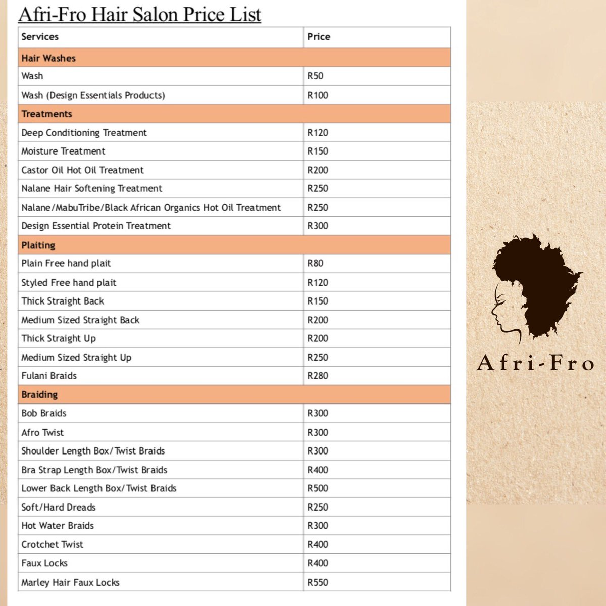 Afri Fro Hair Salon On Twitter Our 2018 Price List Note That Some Prices Have Been Reviewed And Adjusted Forallyournaturalhairneeds