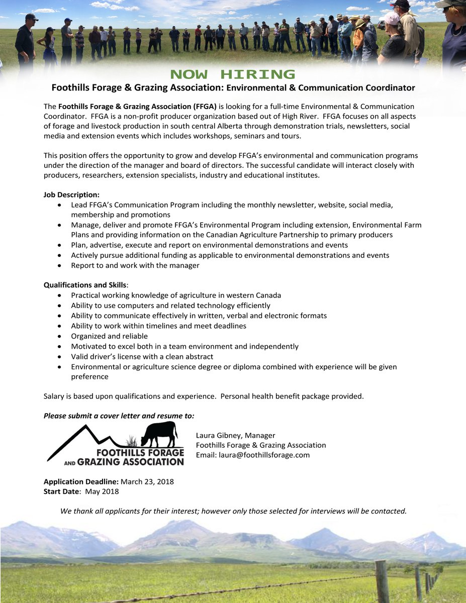 Foothills Forage On Twitter We Are Looking To Hire Forages Abag Farm365