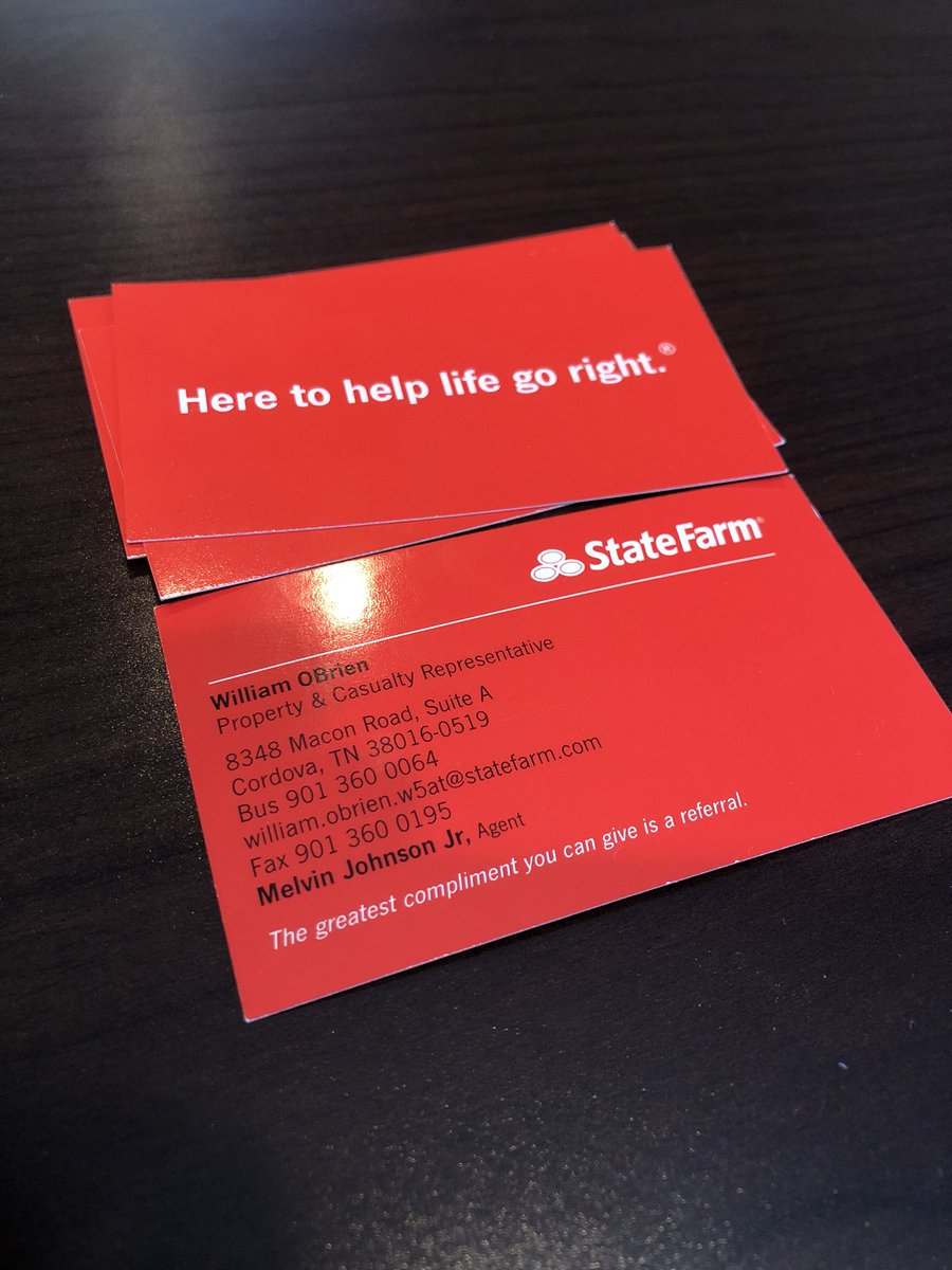 Willfromstatefarm hashtag on twitter and if you would like a business card let me know love to pass out willfromstatefarm picittercuztrlwr33 at melvin johnson jr state farm colourmoves