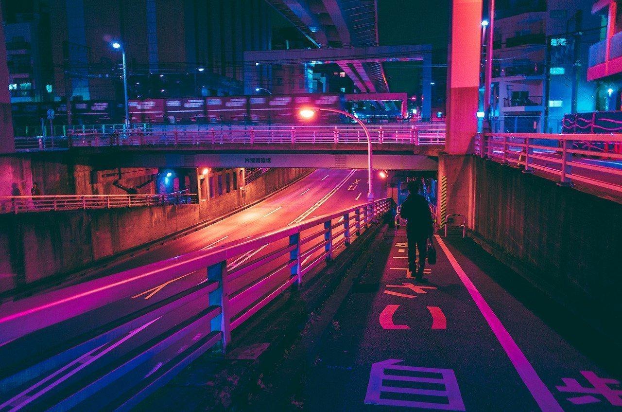 flashy neon lit night scene - HD1200×796