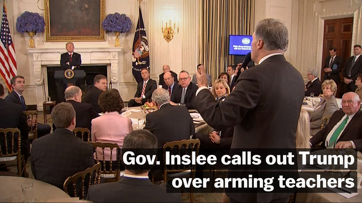 At a meeting between governors and President Trump Monday, Washington Gov. Jay Inslee (D) urged Trump to drop his idea to arm teachers in the US: