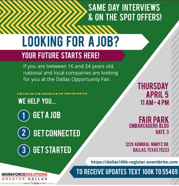 Commit Partnership On Twitter Save The Date Thursday April 5 From 11 Am 4pm If You Re 16 24 Years Old Attend The Dallas Opportunity Fair To Get A Job Get Connected And