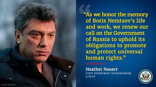 Statement by @statedeptspox on the third anniversary of the murder of Boris Nemtsov. https://t.co/Si6UXdJm0v https://t.co/OQ38iB059t